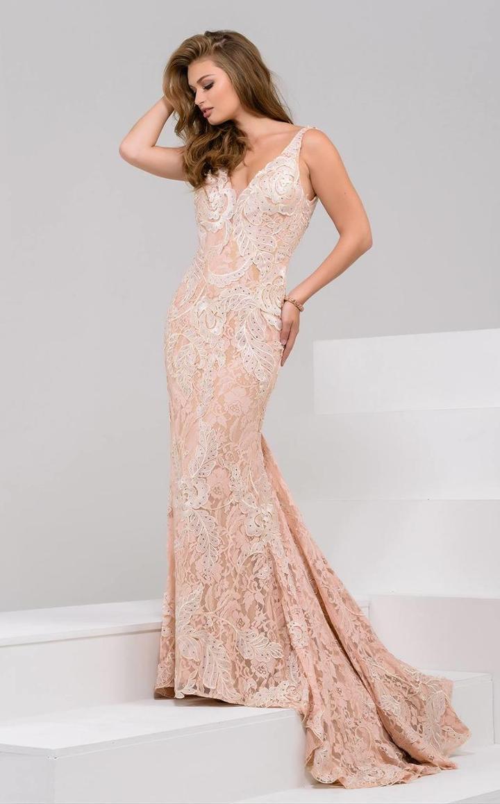 Jovani - 48742 V-neck Lace Sheath Dress