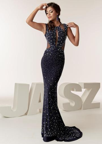 Jasz Couture - 6292 Beaded Jewel Neck Sheath Dress