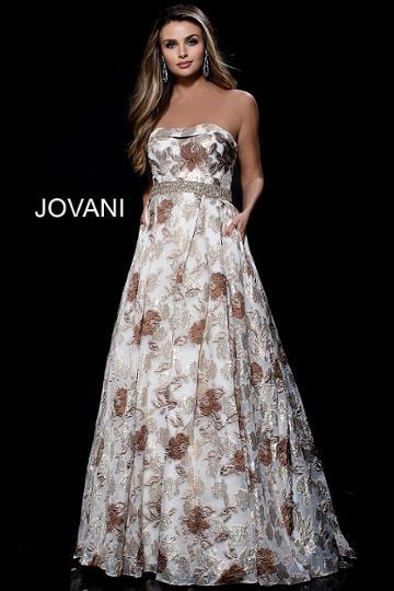 Jovani - 51818 Floral Print Brocade Semi-sweetheart Ballgown