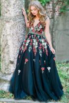 Jovani - 41727 Floral Deep V-neck Ballgown