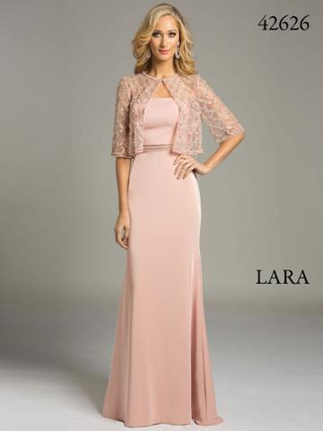 Lara Dresses - Classic Evening Gown With Embellished Sheer Jacket 42626