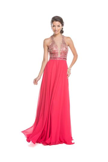 Aspeed - L1597 Beaded Illusion Halter A-line Evening Dress