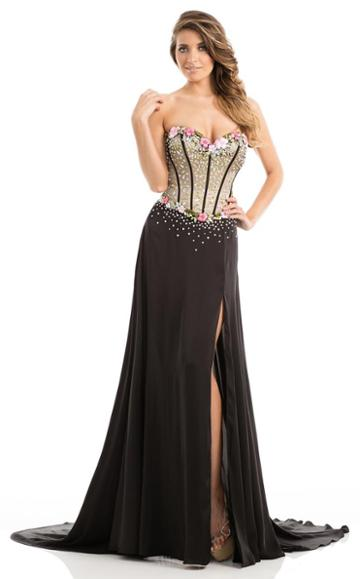 Johnathan Kayne - 7066 Beautiful Floral Sequin Corset Gown