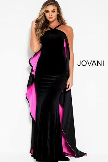 Jovani - 51846 Two Tone Velvet Halter Dress With High Low Overlay