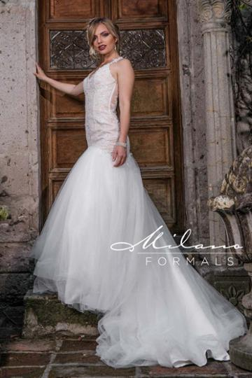 Milano Formals - Aa9306 Embellished V-neck Trumpet Wedding Gown