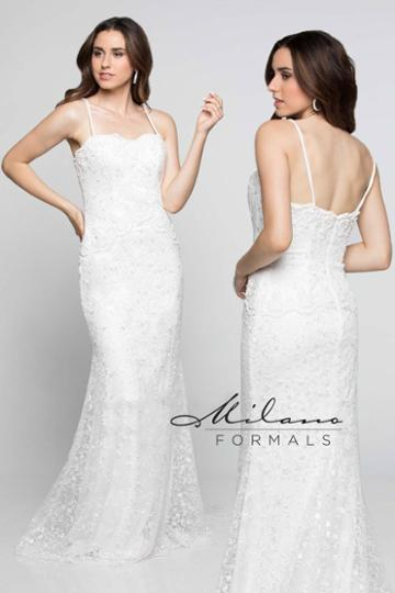 Milano Formals - Aa225 Lace Embellished Semi-sweetheart Wedding Gown