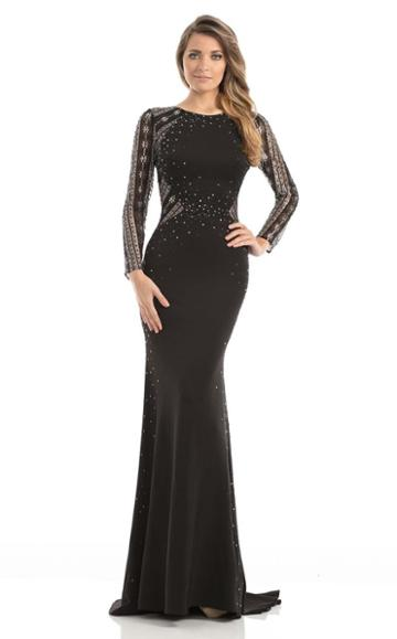 Johnathan Kayne - 7046 Sparkling Long Sleeved Open Back Gown