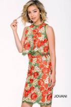 Jovani - Floral Lace Jewel Neckline Sheath Cocktail Dress 41391