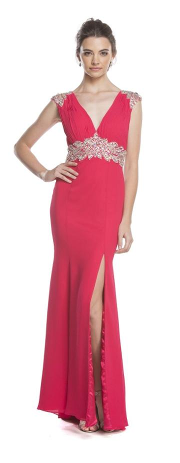 Aspeed - L1603 Crystal Embellished Fitted Evening Dress