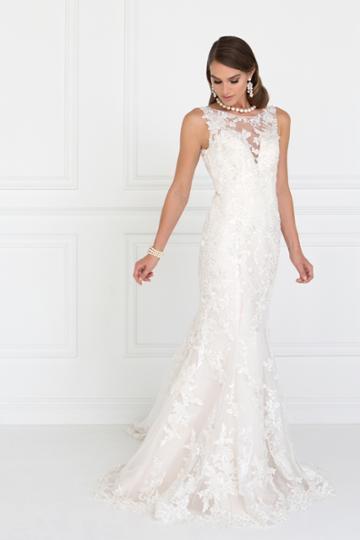 Elizabeth K - Gl1514 Beaded Lace Illusion Bateau Mermaid Wedding Dress