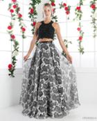 Cinderella Divine - Two Piece Sequined Floral Printed A-line Gown