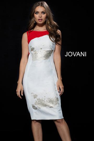 Jovani - 50943 Bateau Neck Brocade Sheath Dress