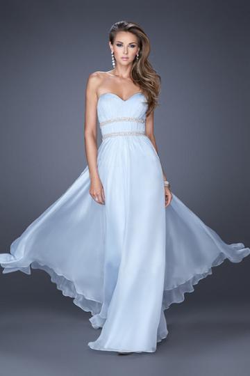 La Femme - 19875 Embellished Pleated Sweetheart A-line Dress