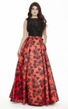 Jolene Collection - 17098 Beaded Printed Mikado Gown