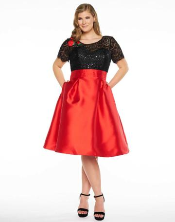 Mac Duggal Fabulouss - 77301f Sequin Embellished Lace Cocktail Dress