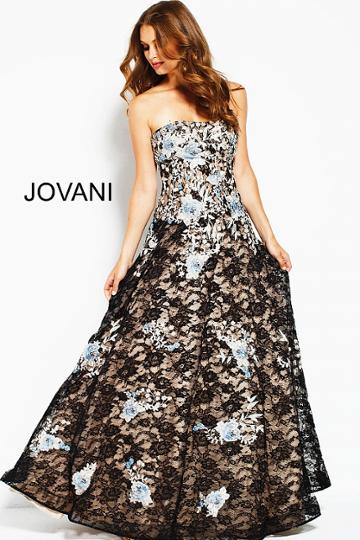 Jovani - 50849 Floral Lace Embroidered Semi-sweetheart A-line Dress