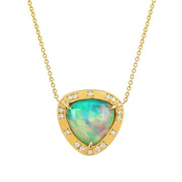 Logan Hollowell - Wilderness Trillion Cabochon Blue Opal Necklace W/ Diamonds