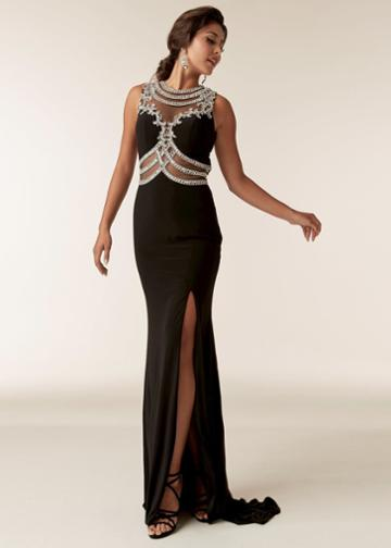 Jasz Couture - 6288 Jewel Neck Stone Embellished Gown With Slit