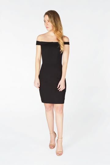 Harper And Lemon - 22100 Fold Overlay Off Shoulder Sheath Dress