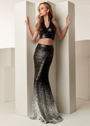 Jasz Couture - 6255 Halter Neck Two-piece Sequined Gown