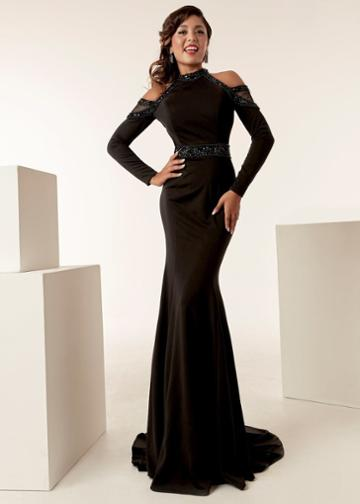 Jasz Couture - 6274 Long Sleeve Beaded High Neck Sheath Dress