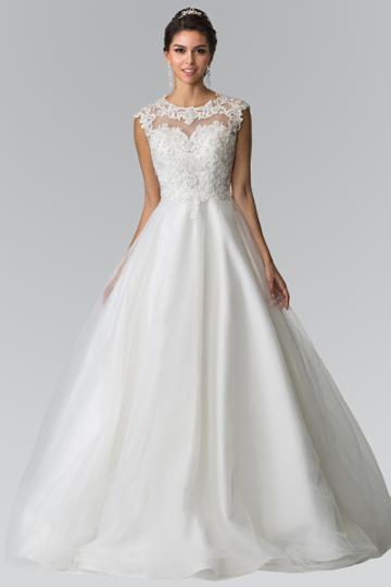 Elizabeth K - Gl2368 Lace Embellished Illusion Jewel Organza Gown