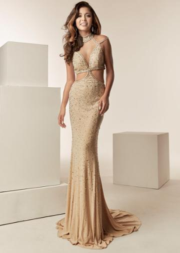 Jasz Couture - 6225 Beaded High Neck Jersey Sheath Dress