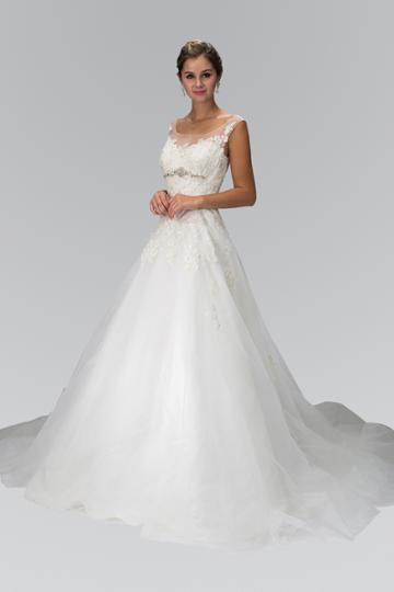 Elizabeth K - Gl1355 Cap Sleeve Floral Appliqued Tulle Wedding Dress
