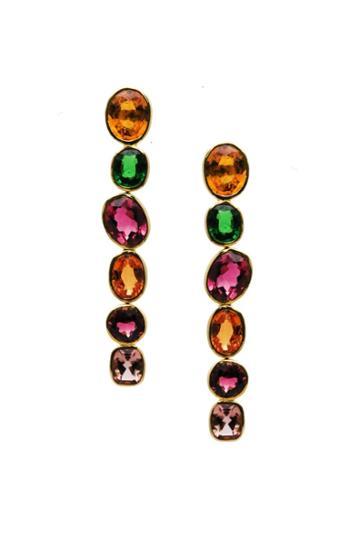 Tresor Collection - 18k Yellow Gold Earring With Multicolor Tourmaline, Tsavorite Garnet And Mandrian Garnet