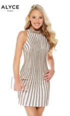 Alyce Paris - 1339 High Neck Gilt Striped Sheath Dress