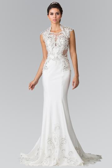 Elizabeth K - Gl2326 Beaded Queen Anne Jersey Sheath Wedding Dress