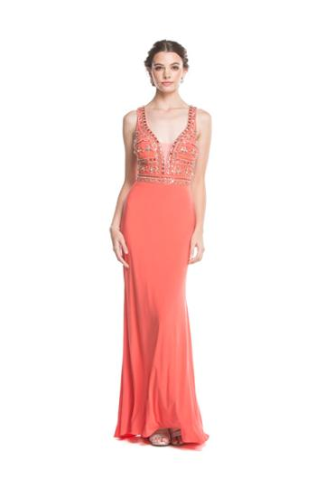 Aspeed - L1613 Plunging Embellished Sheath Evening Gown