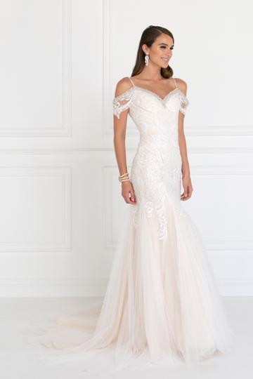 Elizabeth K - Gl1513 Lace Appliqued Off Shoulder Straps Bridal Dress