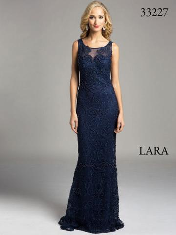 Lara Dresses - Sheer Bateau Illusion Sheath Evening Gown With Faux Pearls And Lace Appliques 33227