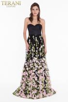 Terani Couture - 1822e7293 Satin Sweetheart Floral Applique Aline Gown