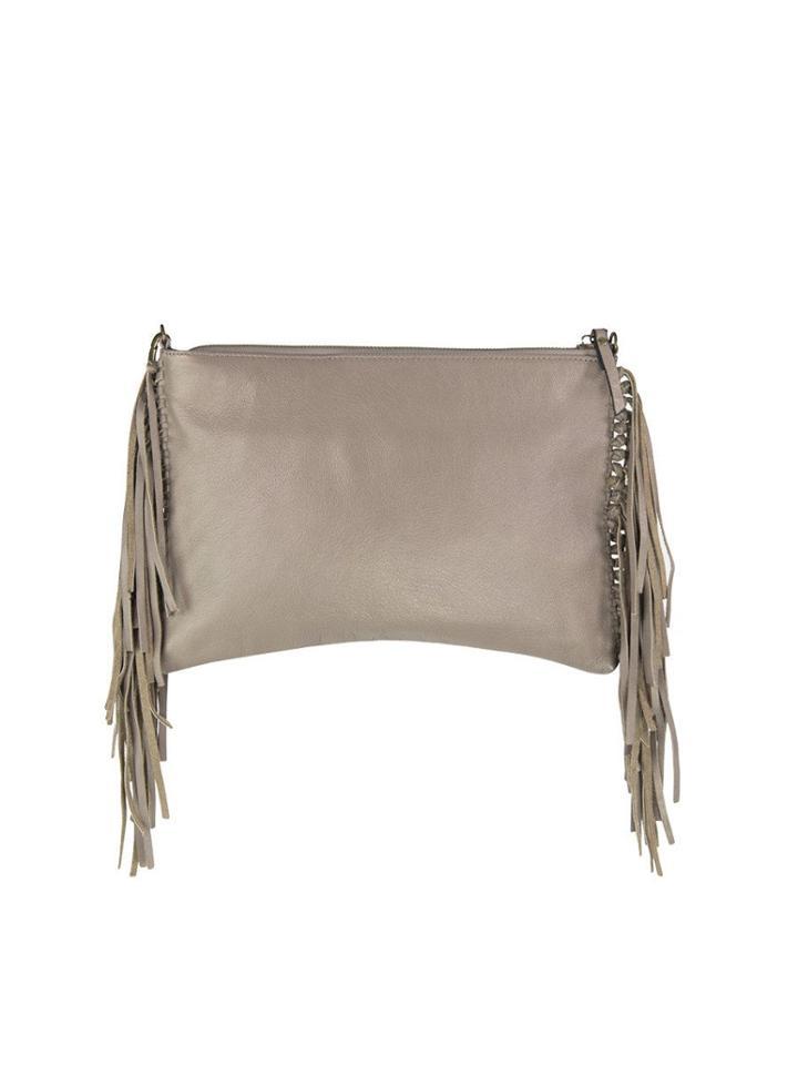 Mofe Handbags - Kalon Fringe Crossbody & Clutch Champagne Taupe / Genuine Leather