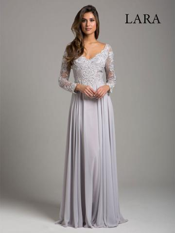 Lara Dresses - 29929 Sheer Long Sleeve Lace Appliqued A-line Gown