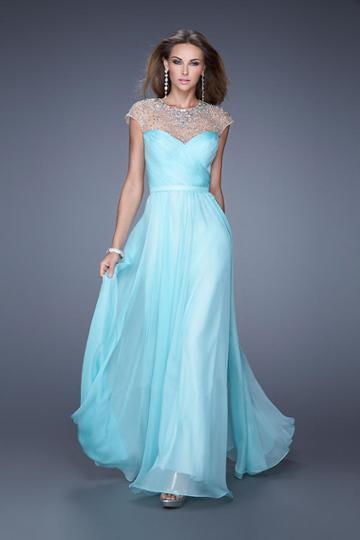 La Femme - 20739 Embellished Illusion Jewel A-line Dress