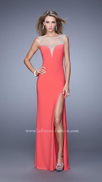 La Femme - 21020 Jersey Illusion Bateau Sheath Dress