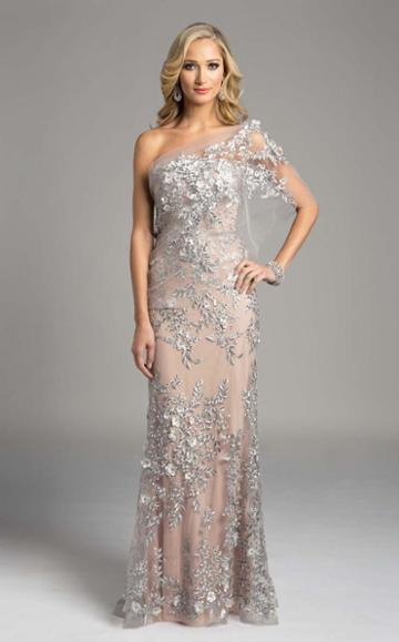 Lara Dresses - 33212 Floral Asymmetric Sheath Dress