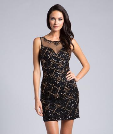 Lara Dresses - 33145 Sheer Sleeveless Fitted Cocktail Dress