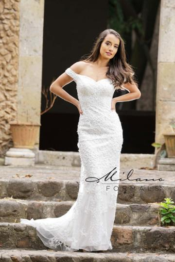 Milano Formals - Aa226 Lace Off-shoulder Fitted Wedding Gown