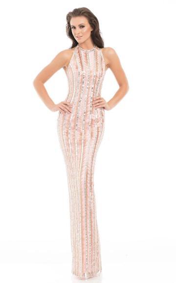 Johnathan Kayne - 7052 Magnetic Rosegold Beaded Column Gown