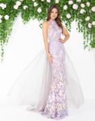 Mac Duggal - 79174d High Neck Beaded Floral Applique Gown