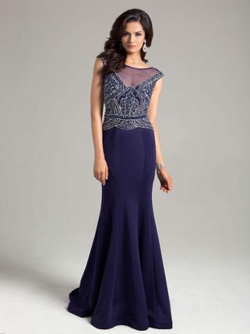 Lara Dresses - Gorgeous Illusion Neck Sheer Trumpet Gown 32839