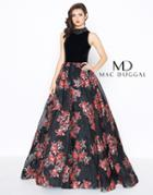 Mac Duggal - 67677r Floral Embroidered High Neck Ballgown With Train