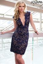 Jovani - Classy Deep V Neck Lace Short Sheath Dress 20089