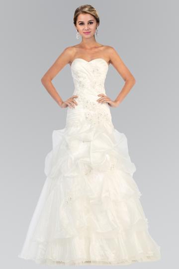 Elizabeth K - Gl1032 Strapless Floral Appliqued Trumpet Wedding Gown