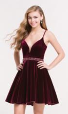 Alyce Paris Homecoming - 3712 Embellished Deep V-neck A-line Dress