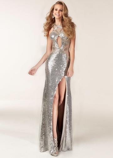 Jasz Couture - 6199 Sequined Halter Neck Sheath Dress